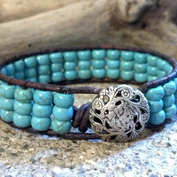 Turquoise Magnesite, Beaded Leather Wrap Bracelet, Leather Cuff, Chan Luu, Southwest chic, PZW094