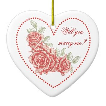 Will you marry me? Valentine's Vintage red roses Christmas ornament