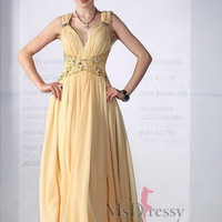 Sheath/Column V-neck Floor-length Chiffon Popular Prom Dress with Lace at Msdressy
