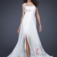 A-line One Shoulder Floor-length Chiffon Popular Prom Dress with Hand-Made Flower at Msdressy