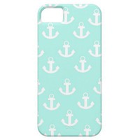 Teal and White anchor iPhone 5/4s case iPhone 5 Case