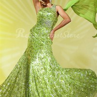Amazing A-line One Shoulder Floor Length Sequin Prom Dress-$168.98-ReliableTrustStore.com