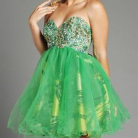 Stunning A-line Green Strapless Knee Length Organza Homecoming Dress-$138.99-ReliableTrustStore.com