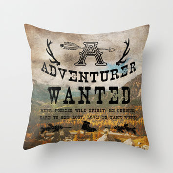 Adventurer Wanted Throw Pillow by Diogo Verissimo