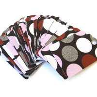 Gift Tag Set of 28 Black with Pink Red White Polka Dots Glitter