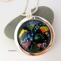 Event Horizon Large Handmade Dichroic Fused Glass Pendant Multi-Color