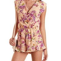Floral Print Wrap Romper by Charlotte Russe - Pink Combo