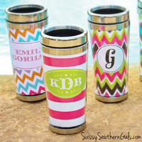 Monogrammed Stainless Steel Travel Mug, Personalized Travel Mug, Custom Travel Tumbler, monogrammed Gift
