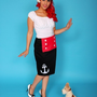 Nautical Sailor Girl Pencil Skirt  - Dismantled Fashions Rockabilly Pin Up Psychobilly