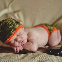 Lil Hunter Camo and Orange Baby Diaper Cover and Baby Hat Set