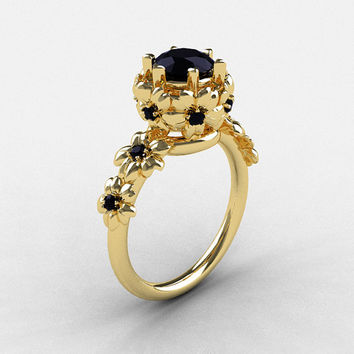 Natures Nouveau 14K Yellow Gold Black Diamond Flower Engagement Ring NN109-14KYGBDD