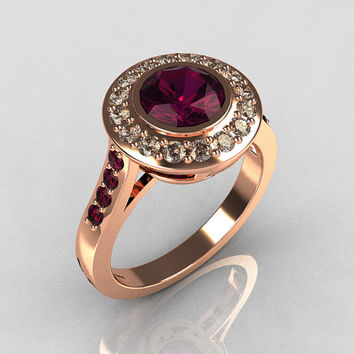 Classic Brilliant Style 14K Pink Gold 1.0 Carat Round Amethyst Diamond Bead-Set Border Engagement Ring R42-14KPGDAMM