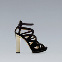 SHINY HEEL STRAPPY SANDAL - Shoes - Woman - ZARA United States