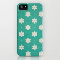 white flowers on turquoise iPhone Case by Sylvia Cook Photography | Society6