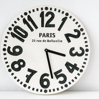 Wall clock -Paris- off white edition shabby chic cottage style birch wood vintage style