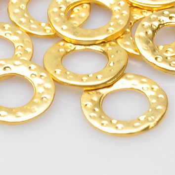 5 Pieces Gold Plated Round Jewelry Connectors, Hammered Jewelry Connector, Jewelry Making Supply, Jewelry Findings