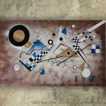 """Abstract braun painting 40""""x64"""" Modern Acrylic Original extra large wall art on unstretched canvas XXL wassily kandinsky"""