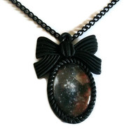 Nebula Necklace, Black Space Print Cameo Necklace, Stars Galaxy