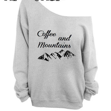 COFFEE and MOUNTAINS sweater   off the  shoulder sweater, loose fit oversized   mizzombie