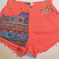 Vintage High Waist Coral Orange Denim Shorts Aztec  with Studs Waist 27  inch