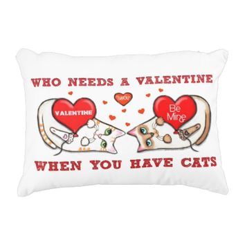 Anti Valentine's Day Cat Lovers Accent Pillow