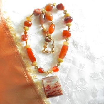 Antique Xiu Nephrite Jade Archer Ring on Jade and Carnelian Necklace