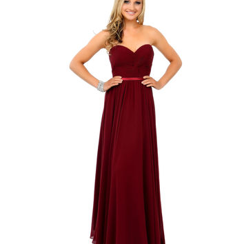 Preorder -  Burgundy Chiffon Strapless Sweetheart Corset Long Gown 2015 Prom Dresses
