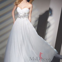 A-line Floor-length Sweetheart Chiffon Evening Dress With Beading at Msdressy