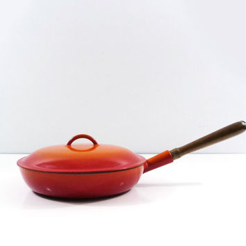 Orange Flame Descoware 11 in Skillet, Original handle, Enameled cast iron, Le Creuset, Grey Glissemaille vintage cookware