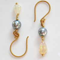 Ethiopian Opal Grey Akoya Pearl Gold Vermeil Twist Dangle Earrings