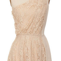 Trendy & Cute Clothing - MM Couture - Nude One Shoulder Lace Dress - chloelovescharlie.com | $94.00