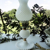 White hobnail vintage milk glass hurricane lamp