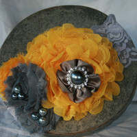 Grey and Yellow Rosette Headband
