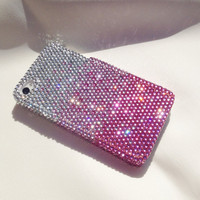Pink Ombre Gradient Swarovski Style Crystal Bling iPhone 4 4s Case Cover
