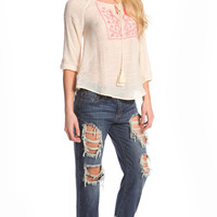WOVEN FLORAL TASSEL TOP - IVORY
