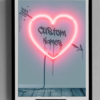 CUSTOM Valentines Day, Gifts for Him, Her, Printable, Name, INSTANT DOWNLOAD, Romantic, Decor, Lights, iphone, ipad, Screensaver, Quote