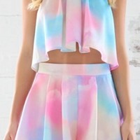 White Light Pink Blue Tie Dye Sleeveless Halter Tie Neck Loose Pleated Crop Top Short Two Piece Romper