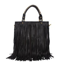 Black Leather Punk Tassel Fringe Handbag Shoulder Handle Bag Satchel Purse Hobo Tote High Quality Women / Girl Fashion Work School Office Lady Student w/Shoulder Strap