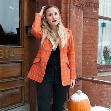 Pumpkin Plaid Blazer