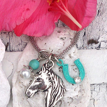 Horseshoe & Horse Pendant Necklace, Turquoise and Silver, Equestrian Jewelry