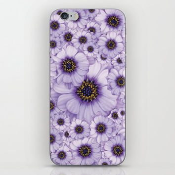 High Quality iPhone SKIN - iPhone 6 - iPhone6 Plus. iPhone 5/5s. iPhone 4/4s Skins / Decals -  Violet Daisy Pattern - Lila Flowers Pattern