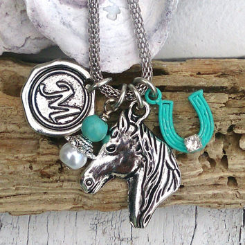 Initial Horse Necklace, Horseshoe Charm, Personalized Necklace, Equestrian Jewelry