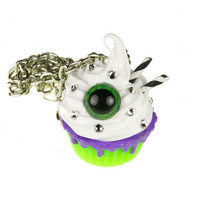 Monster Eyeball Cupcake Necklace Green and Purple, Swarovski Crystal, Halloween, Horror, Decoden, Kawaii