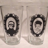 Frankenstein and Bride pub glasses