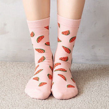 Watermelon Socks - Baby Pink