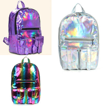 Holographic / Hologram Backpack / PU Leather (vegan) / Purple / Silver / Rainbow / Gamma Ray Bag