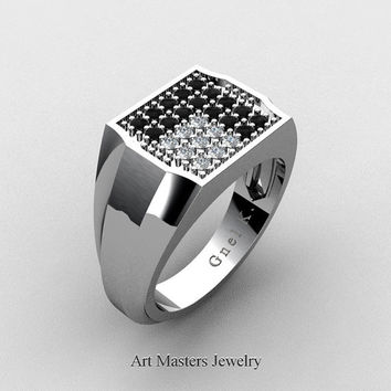 Mens Modern 14K White Gold Stealth Pattern Black and White Diamond Designer Ring R326M-14KWGDBD2