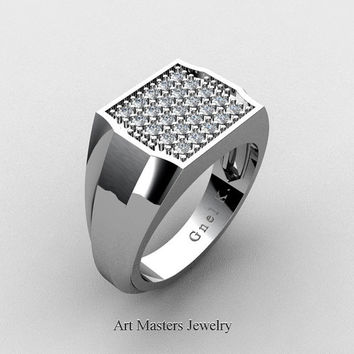 Mens Modern 14K White Gold Micro Pave Diamond Designer Ring R326M-14KWGDD