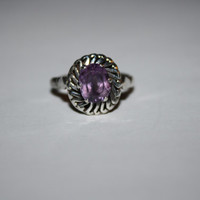 Size 8.5 Heirloom Amethyst Colored Stone Ring Vintage Sterling Silver Ring Free US Shipping