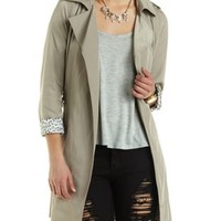 Belted Wrap Trench Coat by Charlotte Russe - Khaki